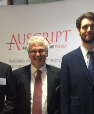 Photo: Auscript Account Manager Martin Diver, QLS President Bill Potts and Auscript Client Services Officer David Gray at the QLS Criminal Law Conference.